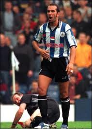 Paolo Di Canio pushes referee Paul Alcock to the floor