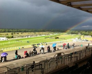 Storm clouds gather at Sandown racecourse