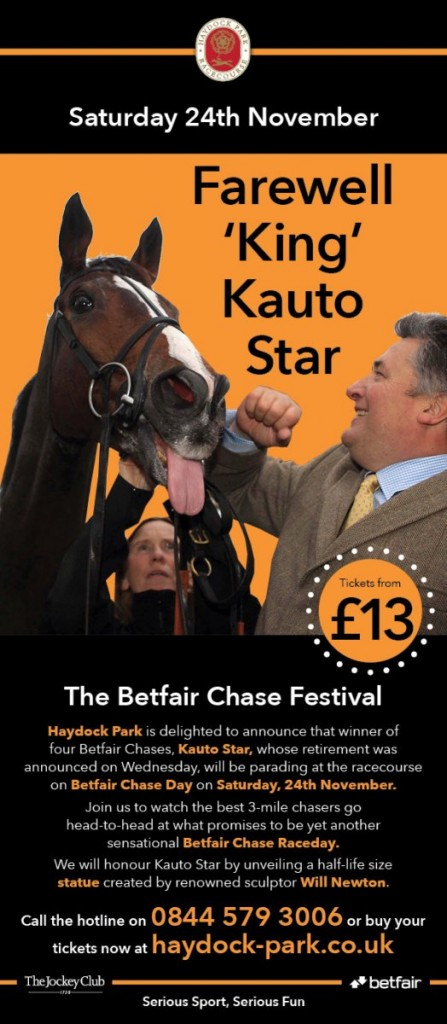 Kauto Star will be at Haydock Park for Betfair Chase day