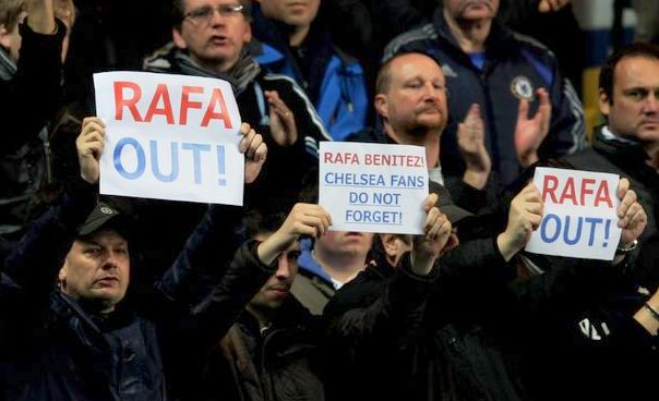 Chelsea fans protest at the appointment of Rafa Benitez as manager