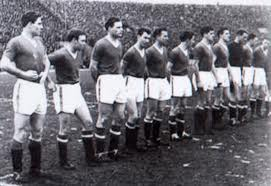 Busby Babes line up for their last game before the munich air crash