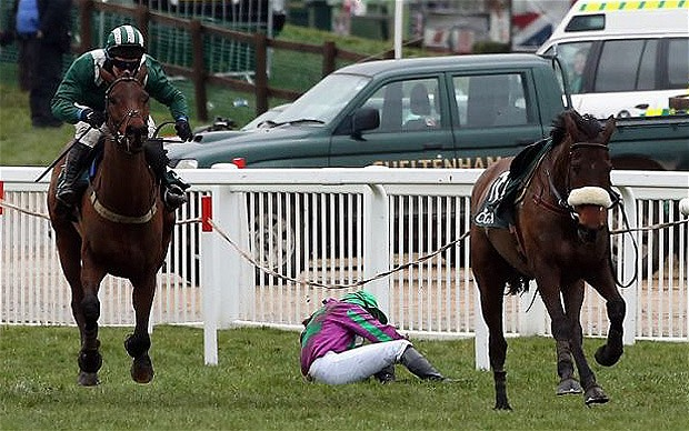 Jane Mangan thrown off with the winning post in site