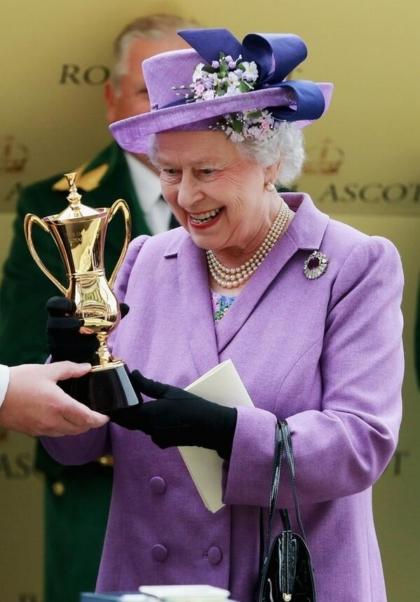 The Queen is presented with the Ascot Gold Cup