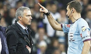 jose mourinho sent off by referee