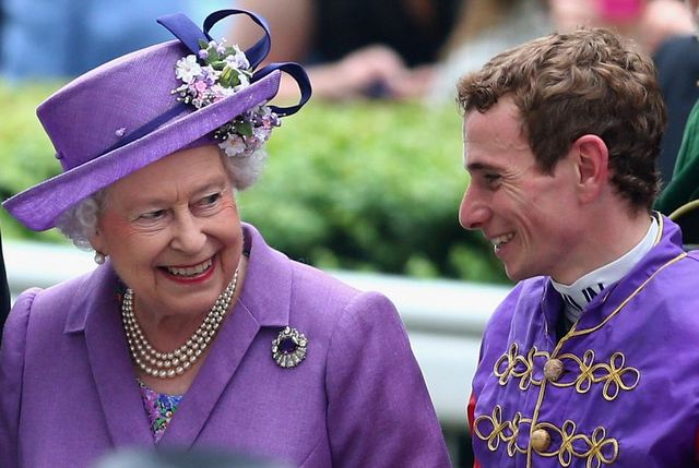 Queen and Ryan Moore presented with trophy after winning ascot gold cup