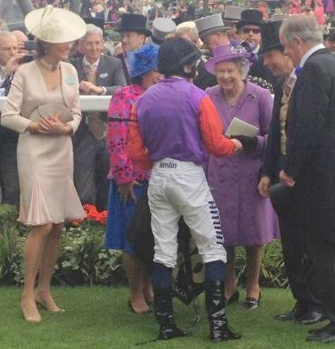 Jockey Ryan Moore and the Queen at Ascot