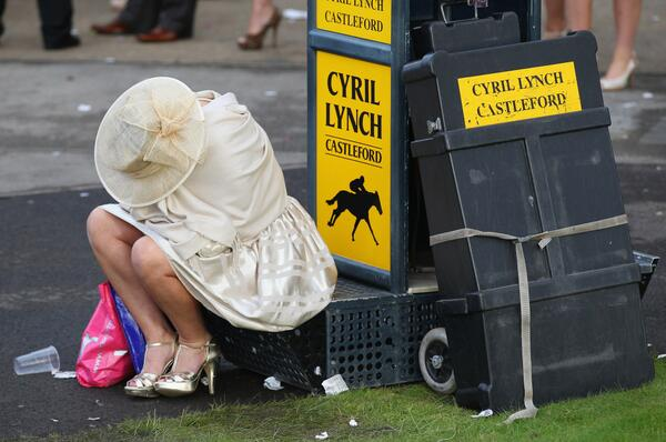 pissed punter at bookies stall aintree