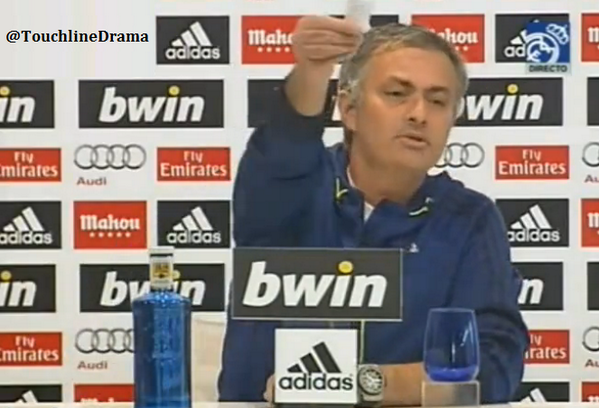 Jose shows Spanish press a list of his achievements at Real Madrid