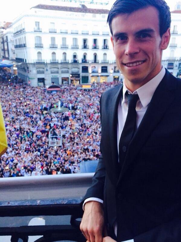 Gareth Bale at the celebrations in Madrid