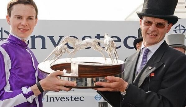 Aidan O'Brien and Joseph with Derby trophy