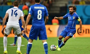 Italy midfielder Andrea Pirlo, right, in action against England in World Cup Group D.
