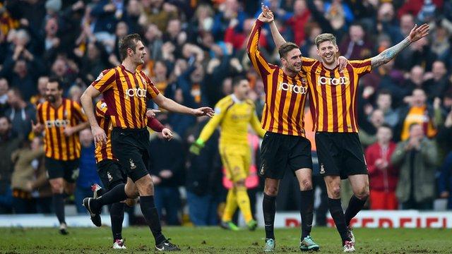 John Stead celebrates scoring for Bradford City