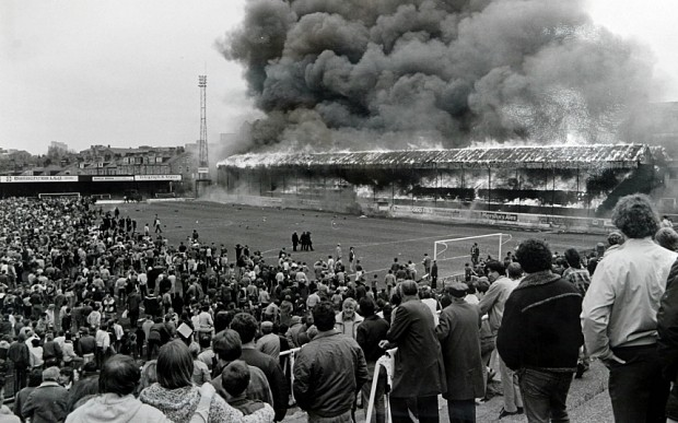 Valley Parade in flames. Photo: Barry Wilkinson/SWpix.com