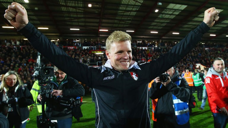 Eddie Howe celebrates pormotio to the Premier League