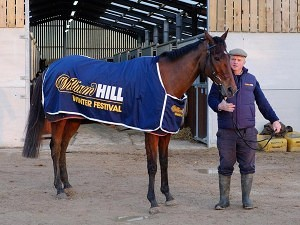 A champ and his trainer. Cue Card with Colin Tizzard