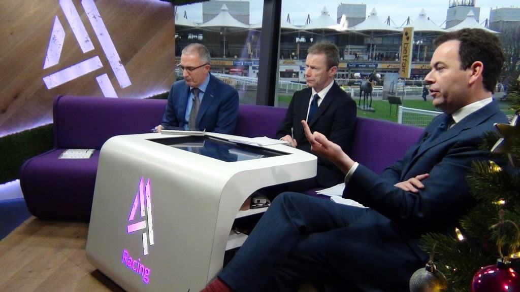 VG TIPS films as Channel 4 racing goes live on air at Sandown Park racecourse