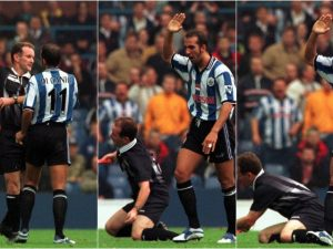 All our yesterdays. 20 years ago today. Paolo Di Canio pushes off.