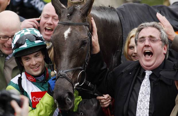 harry findlat with denman winning at cheltenham