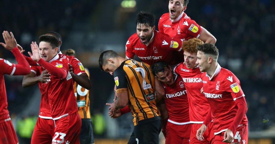 Nottingham forest celebrate scoring at Hull