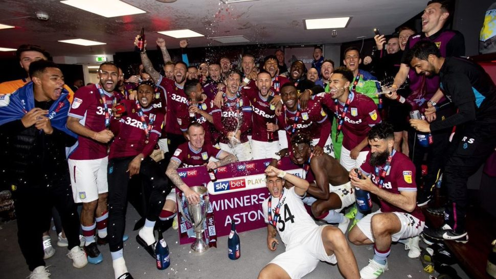 aston villa celebrate promotion to premier league