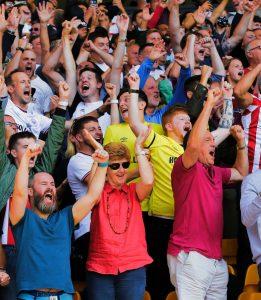 Brentford football fans celebrate